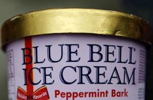 This photo shows a container of Blue Bell ice cream …