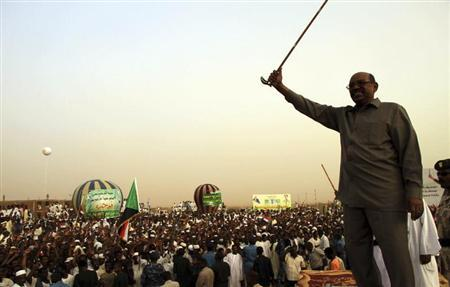 President Omar Hassan al-Bashir addresses a crowd in North Khartoum