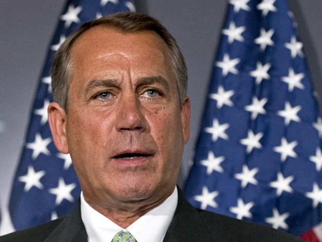 FILE - In this Feb. 26, 2013 file photo, House Speaker John Boehner of Ohio speaks on Capitol Hill in Washington. President Barack Obama will meet Friday with the top leaders in the House and Senate to discuss what to do about automatic cuts to the federal budget, White House and congressional leaders said. The meeting is set to take place hours after the $85 billion in across-the-board cuts will have officially kicked in. This suggests both sides are operating under the assumption a deal won't be reached to avert the cuts ahead of the March 1 deadline. (AP Photo/J. Scott Applewhite, File)