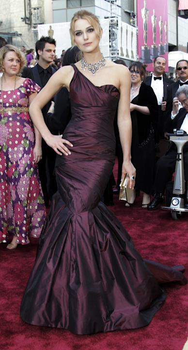 FILE-  This March 5, 2006 file photo shows British actress Keira Knightley as she arrives for the 78th Academy Awards wearing a silky one-shoulder gown custom-made by Vera Wang in Los Angeles. To make