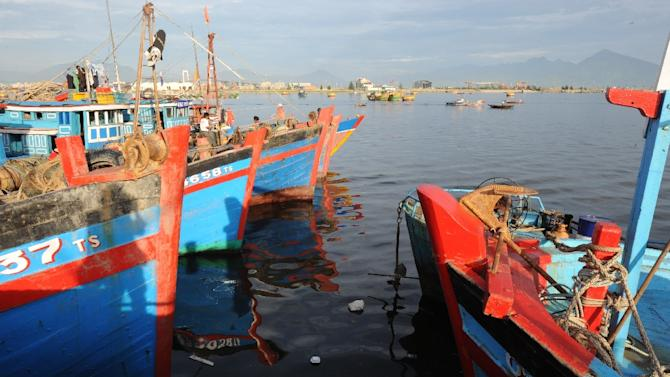 Deep sea fishing boats lie berthed in port in Vietnam's central coastal city of Da Nang