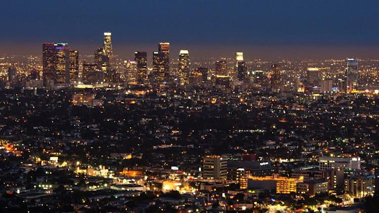 The Los Angeles skyline on August 21, 2013 in California