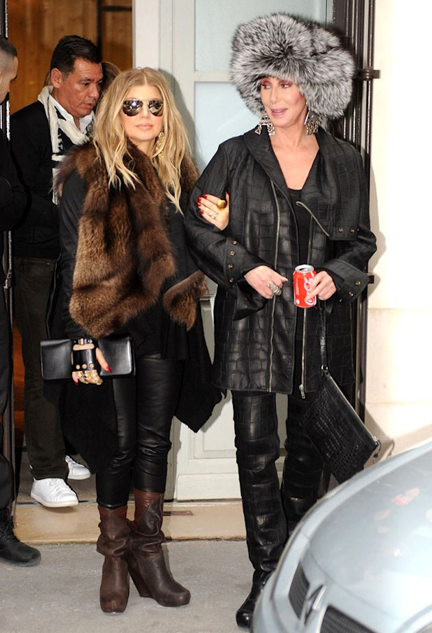 Cher and a pregnant Fergie have an outfit change while shopping together in Paris