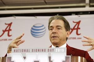 Alabama head coach Nick Saban speaks to the media during …