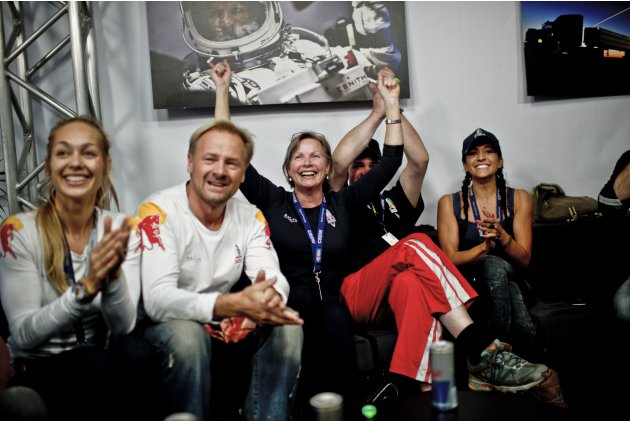 Handout photo of family members and friends celebrating the successful jump of pilot Felix Baumgartner of Austria during the final manned flight for Red Bull Stratos in Roswell