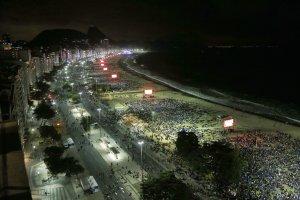 A bird's-eye view of the Copacabana beachfront in Rio…