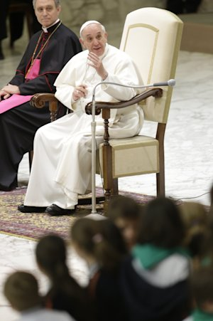 Pope Francis speaks during an audience with students …