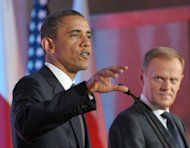 "US President Barack Obama (left) and Polish Prime Minister Donald Tusk at a joint press conference in Warsaw in 2011. The White House on Wednesday shrugged off Polish demands to express more than mere 'regret' after President Barack Obama mistakenly referred to a Nazi Holocaust site as a ""Polish death camp."" (AFP Photo/Janek Skarzynski)"