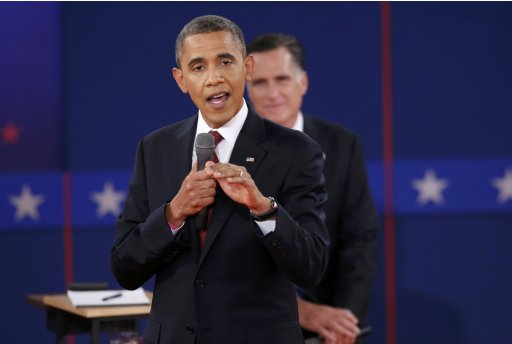 U.S. President Obama answers a questiion as Republican presidential nominee Romney listens during the second U.S. presidential campaign debate in Hempstead