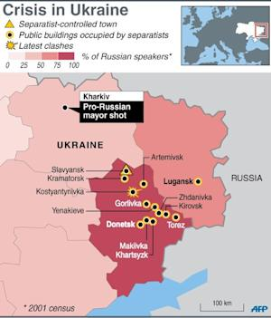 Map of eastern Ukraine showing towns seized by sep …