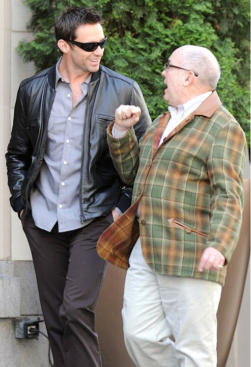 EXCLUSIVE: Hugh Jackman and his dad, Chris, take a walk in San Francisco