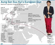 Graphic showing Aung San Suu Kyi's updated European tour itinerary. (AFP Photo/)