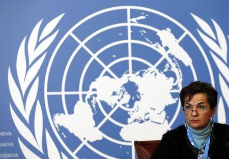 Figueres Executive Secretary of the UNFCCC listens during a news conference after a week long preparatory meeting at the UN in Geneva