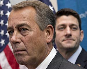 House Speaker John Boehner of Ohio, left, joined by …