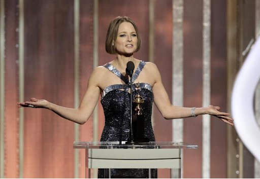 This image released by NBC shows Jodie Foster, recipient of the Cecil B. Demille Award, during the 70th Annual Golden Globe Awards at the Beverly Hilton Hotel on Jan. 13, 2013, in Beverly Hills, Calif. (AP Photo/NBC, Paul Drinkwater)