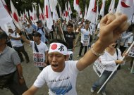 People holding Japanese national flags punch their fists during an anti-China rally in Tokyo September 22, 2012. A flare-up in a diplomatic row over the uninhabited islands, called Diaoyu in China and Senkaku in Japan, has triggered mass protests in China and heightened maritime tension as Chinese boats approached waters claimed by Japan.     REUTERS/Toru Hanai (JAPAN - Tags: CIVIL UNREST POLITICS TPX IMAGES OF THE DAY)