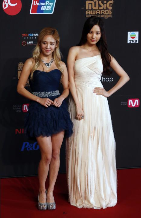 Hyoyeon and Seohyun from South Korean K-pop group Girls' Generation pose on the red carpet during Asian Music Awards in Hong Kong