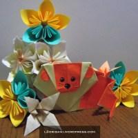 Origami Lion in a flower garden