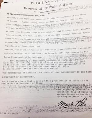 This March 15, 1980 proclamation by then Texas Governor Mark White commutes Jerry Hartsfield's death sentence to life in prison. Hartsfield has been locked up for more than three decades for a slaying even though the state's top appeals court ruled in 1980 that he doesn't have a valid murder conviction. His attorneys are asking a state district judge to dismiss the charge and free him because his constitutional right to a speedy trial has been violated. (AP Photo/Michael Graczyk)