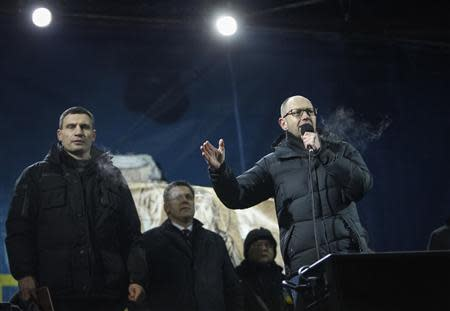 Opposition leaders Klitschko, Tyagnibok and Yatsenyuk attend a rally in Independence square in Kiev