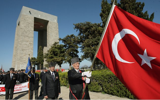 Turkish war veterans march during a commemoration ceremony at the Turkish Memorial in Gallipoli, Turkey, Sunday, April 24, 2011. The World War I battlefield of the Gallipoli campaign, where throngs ga