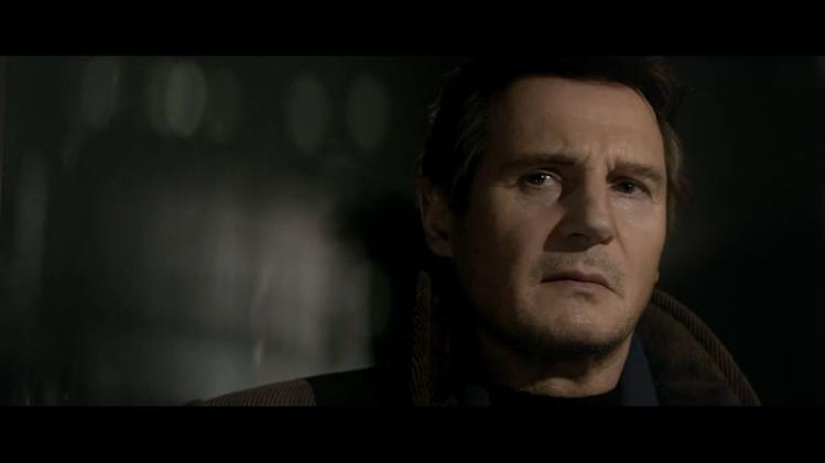 "Video screenshot: Scudder (Liam Neeson) evaluates his options in ""A Walk Among the Tombstones."""