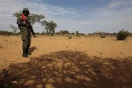 A Malian soldier stands guard on the road between Konna and Sevare January 27, 2013. REUTERS/Eric Gaillard