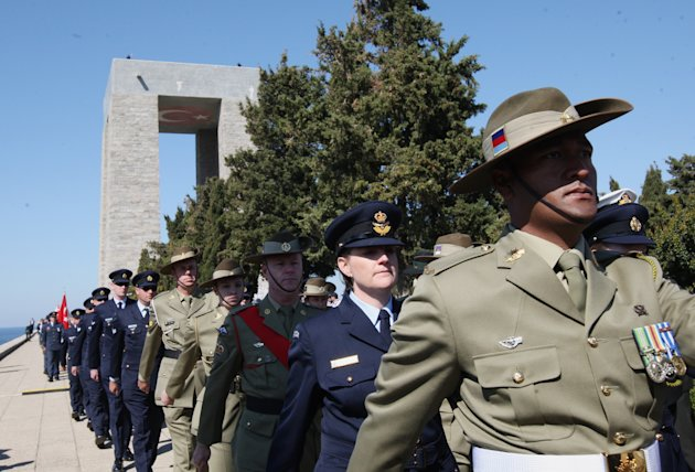 Australian and New Zealander soldiers march during a commemoration ceremony at the Turkish Memorial in Gallipoli, Turkey, Sunday, April 24, 2011. The World War I battlefield of the Gallipoli campaign,