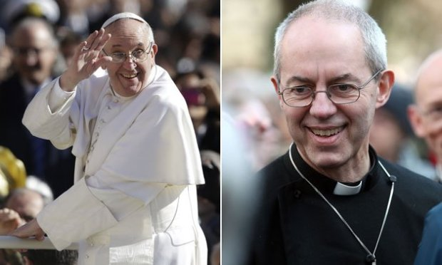 New roles: Pope Francis (left), and the Archbishop of Canterbury Justin Welby (right)