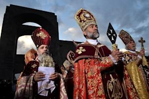 Clerics take part in the canonisation ceremony for…