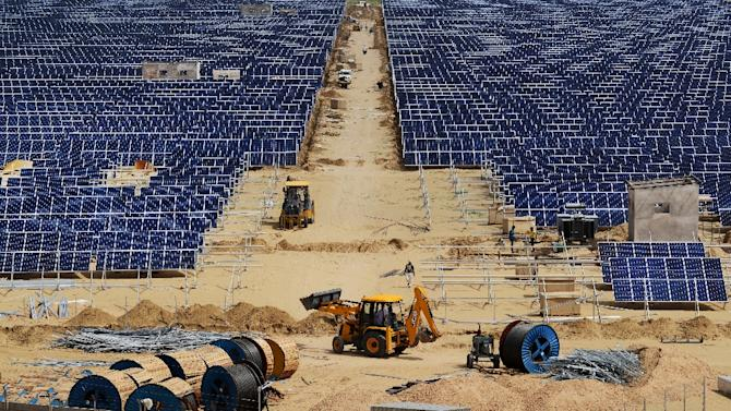 Construction takes place at Roha Dyechem solar plant in Bhadla, some 225 km north of Jodhpur, in the western Indian state of Rajasthan
