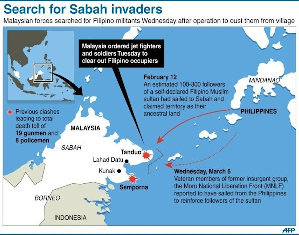 Graphic on the situation in Malaysian Borneo where authorities are searching for armed Filipino invaders