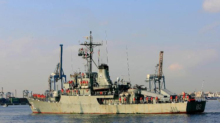 An Iranian warship docks in the Sudanese town of Port Sudan, on October 31, 2012