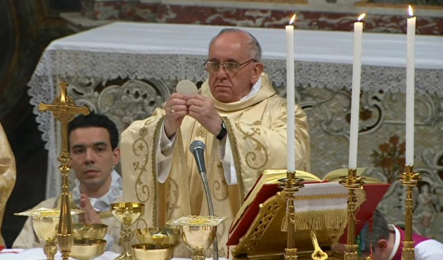 In this image made from video provided by CTV, Pope Francis, right, celebrates his inaugural Mass with cardinals inside the Sistine Chapel, at the Vatican, Thursday, March 14, 2013. As the 266th pope, Francis inherits a Catholic church in turmoil, beset by the clerical sex abuse scandal, internal divisions and dwindling numbers in parts of the world where Christianity had been strong for centuries. (AP Photo/CTV)