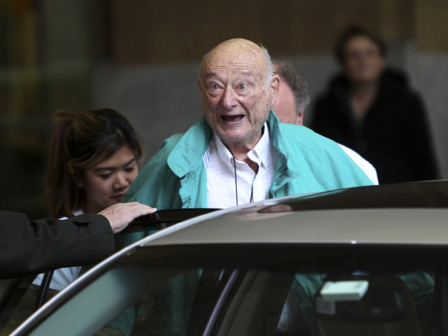FILE - In this Dec. 10, 2012 file photo, former New York City Mayor Ed Koch says goodbye to reporters as he gets in his car after being released from the hospital in New York. Koch died Friday, Feb. 1, 2013 from congestive heart failure, spokesman George Arzt said. He was 88. (AP Photo/Seth Wenig, File)