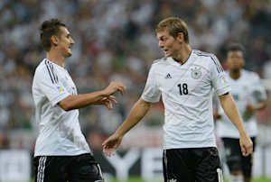 Germany's Toni Kroos,right, and Miroslav Klose celebrate …