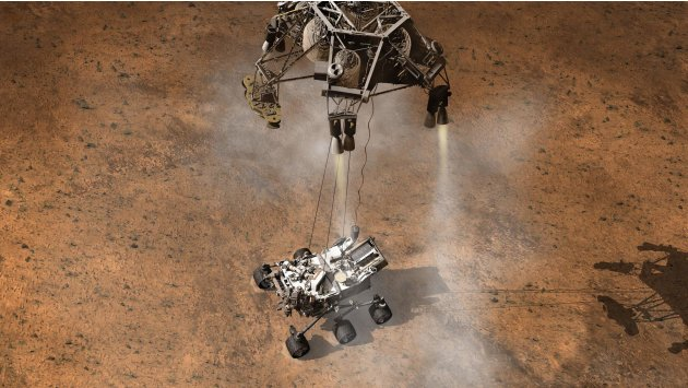 Artist's drawing of landing of MSL Curiousity rover on Mars