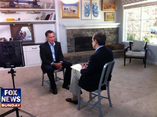 former Republican presidential candidate Mitt Romney speaks with FOX News Sunday's Chris Wallace at his son's home in San Diego