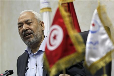 Rached Ghannouchi, head of the Ennahda movement, speaks during an interview with Reuters in Tunis February 12, 2013. REUTERS/Louafi Larbi