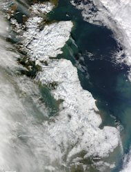 Much of the island of Great Britain is blanketed in snow in this image taken by NASA's Terra satellite on Jan. 26, 2012.
