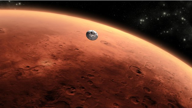 An artist's concept of NASA's Mars Science Laboratory spacecraft approaching Mars