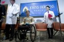 US Army Sgt. Marrocco is pictured during a news conference after receiving double arm transplants in Baltimore, Maryland