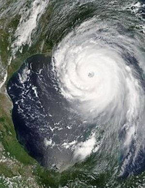 Hurricane Katrina near peak strength on August 28, …