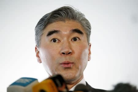 U.S. Special Representative for North Korea Policy Sung Kim speaks to media at a news conference in Beijing