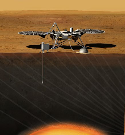 This image provided by NASA shows an artist rendition of the proposed InSight (Interior exploration using Seismic Investigations, Geodesy and Heat Transport) Lander. After driving all around Mars with four rovers, NASA wants to look deep into the guts of the red planet. The space agency decided Monday, Aug. 20, 2012, to launch a relatively low-cost robotic lander in 2016 to check out what makes the Martian core so different from Earth's. NASA's Discovery program picked a project called Insight over missions to a Saturn moon and a comet, drawing complaints from scientists who study other places in our solar system that NASA is too focused on Mars. (AP Photo/NASA)