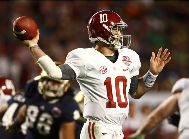 Alabama quarterback McCarron throws a pass against Notre Dame during the third quarter of their NCAA National Championship college football game in Miami