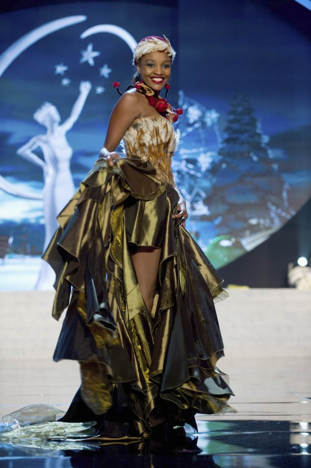 Miss Namibia Tsakana Nkandih performs onstage at the 2012 Miss Universe National Costume Show at PH Live in Las Vegas