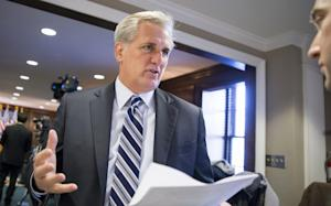 Majority Leader Kevin McCarthy, R-Calif., speaks with …