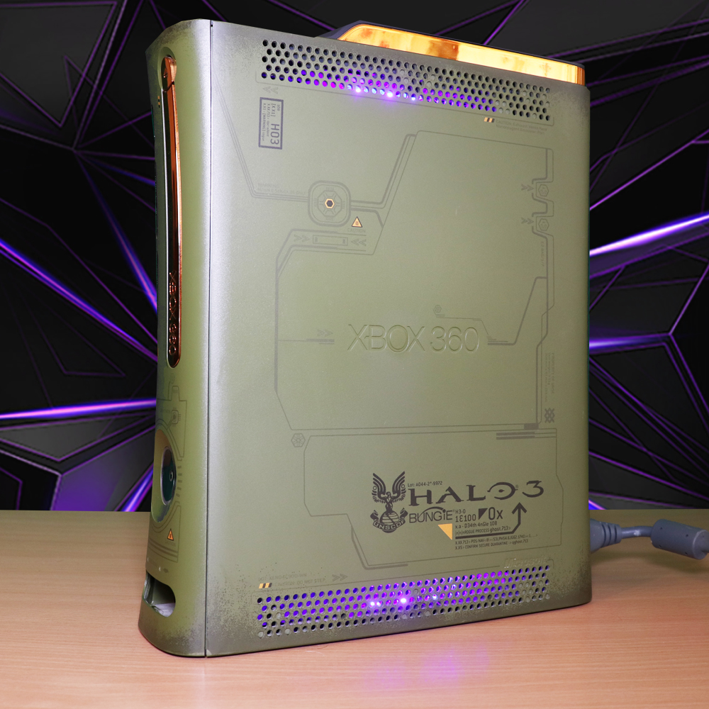 Modded Xbox 360 Phat 250GB Halo 3 (Limited Edition) with Blue LED's RGH/JTAG