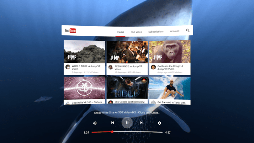 Early look at YouTube VR interface.